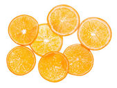 Orange fruit. Slices on white. Background — Stock Photo