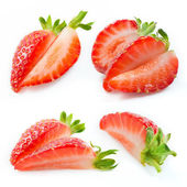 Strawberry slices isolated. Collection of fruit pieces — Stock Photo
