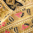 Gold embroidered pattern. Ukrainian ethnic ornament — Stock Photo