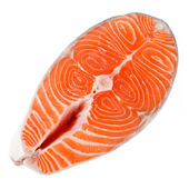 Salmon steak on a white background. With clipping path — Stock Photo