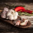 Stock Photo: Organic garlic and hot pepper
