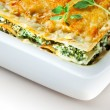 Stock Photo: Italicuisine. Spinach lasagnwith basil. Macro