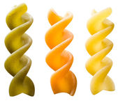 Uncooked fusilli on white background with clipping path — Stock Photo