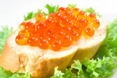 Red caviar with bread — Stock Photo
