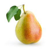 Pear with leaf isolated on white background — Stockfoto