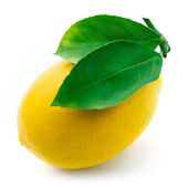Fresh lemon with leaves isolated on white background — Stock Photo
