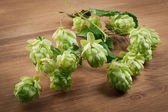 Fresh green hops on a wooden table — Stock Photo
