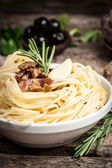 Spaghetti with sause. Organic food — Stock Photo