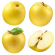 Yellow apple. collection. set of fruits and leaf isolated on whi — Stock Photo #44743909