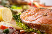 Roasted salmon with lemon — Stock Photo