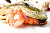 Shrimps, mussels and squid. Seafood — Stock Photo