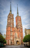 St. Johns cathedral at night, Wrocław, Poland, Ostrow Tumski — Stock Photo