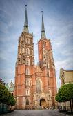 St. Johns cathedral at night, Wrocław, Poland, Ostrow Tumski — Stock Photo
