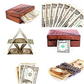 Dollars isolated collage — Stock Photo
