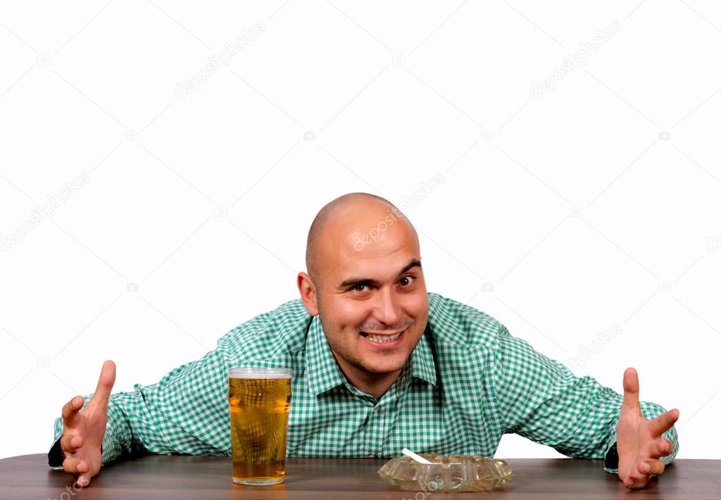 Man want to take cigarette and glas of beer — Stock Photo #13356711