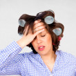 Housewife with headache — Stock Photo
