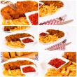 French fries collage — Stock Photo