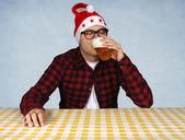 Santa and beer — Stock Photo