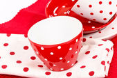 White and red cups — Stock Photo