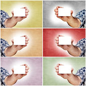 Hands and blank cards — Stock Photo