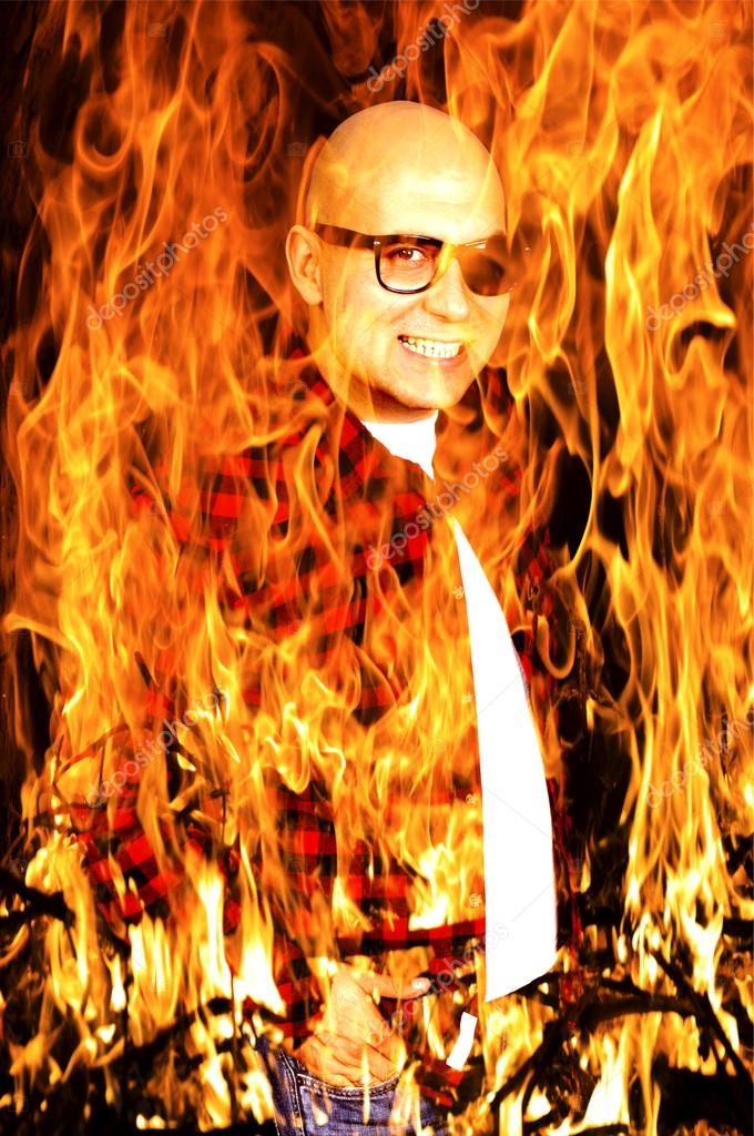 Bald devil in the big flame — Stock Photo #15691283