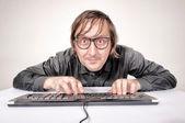 Hacker in aktion — Stockfoto