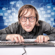 Hacker in Action - Stock Photo