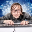 Hacker in Action - Stockfoto