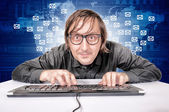 Hacker in Action — Stock Photo
