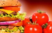 Double hamburger — Stock Photo