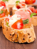 Single bruschetta — Stock Photo