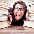 Angry female student — Stock Photo