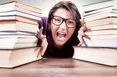 Angry female student — Foto de Stock