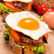 Fried egg sandwich - Stock Photo