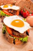 Fried egg sandwich — Stock Photo