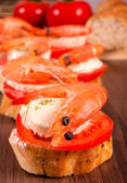 Shellfish bruschetta — Stockfoto