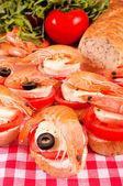 Mini shrimp sandwiches — Stock Photo