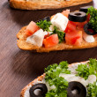 Three bruschettas — Stock Photo