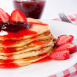 Strawberries pancake — Stock Photo