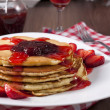 Strawberries jam and pancakes — Stock Photo