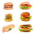 Sandwich and hamburger — Stock Photo