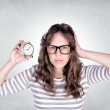 Female with clock — Stock Photo #27459277