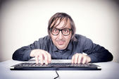 Movking hacker — Stock Photo
