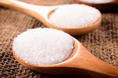 Salt in spoon — Stock Photo