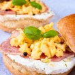 Scrambled eggs and ham — Stock Photo