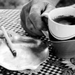 Coffee and cigarette — Stock Photo