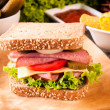 Foto de Stock  : Sandwich with sausage