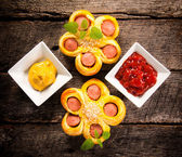 Mini sausages pastry — Stock Photo