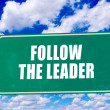 Follow the leader sign — Stock Photo