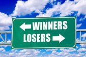 Winners and losers sign — Stock Photo